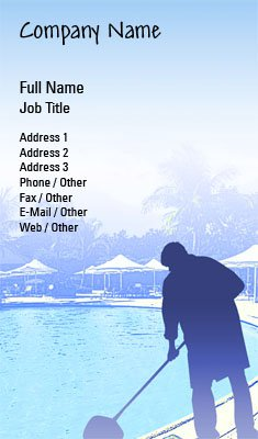 Pool Cleaning Silhouette Business Card Template